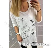 Tričko-tunika 3/4, dlhý rukáv dámske nadrozmerné (uni xl-3XL) TALIANSKÁ MÓDA IM418593