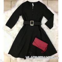 Šaty s opaskom 3/4 dlhý rukáv dámske (uni sl) TALIANSKÁ MÓDA IMT18923