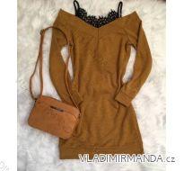 Šaty dlhý rukáv teplé dámske s čipkou (uni sl) TALIANSKÁ MÓDA IMC181189