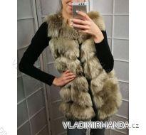 Vesta kožúšok zimné dámsky s koženkovými vreckami teplá umelá kožušina (s-4XL) AFASHION AF18048