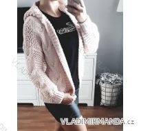 Cardigan pletený sveter dlhý rukáv s kapucňou dámsky (uni sl) Talianska MODA IMC181095