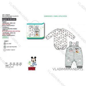 Set body dlhý rukáv, tepláky s trakmi mickey mouse dojčenskej chlapčenské (6-24 mesiacov) SUN CITY HQ0018