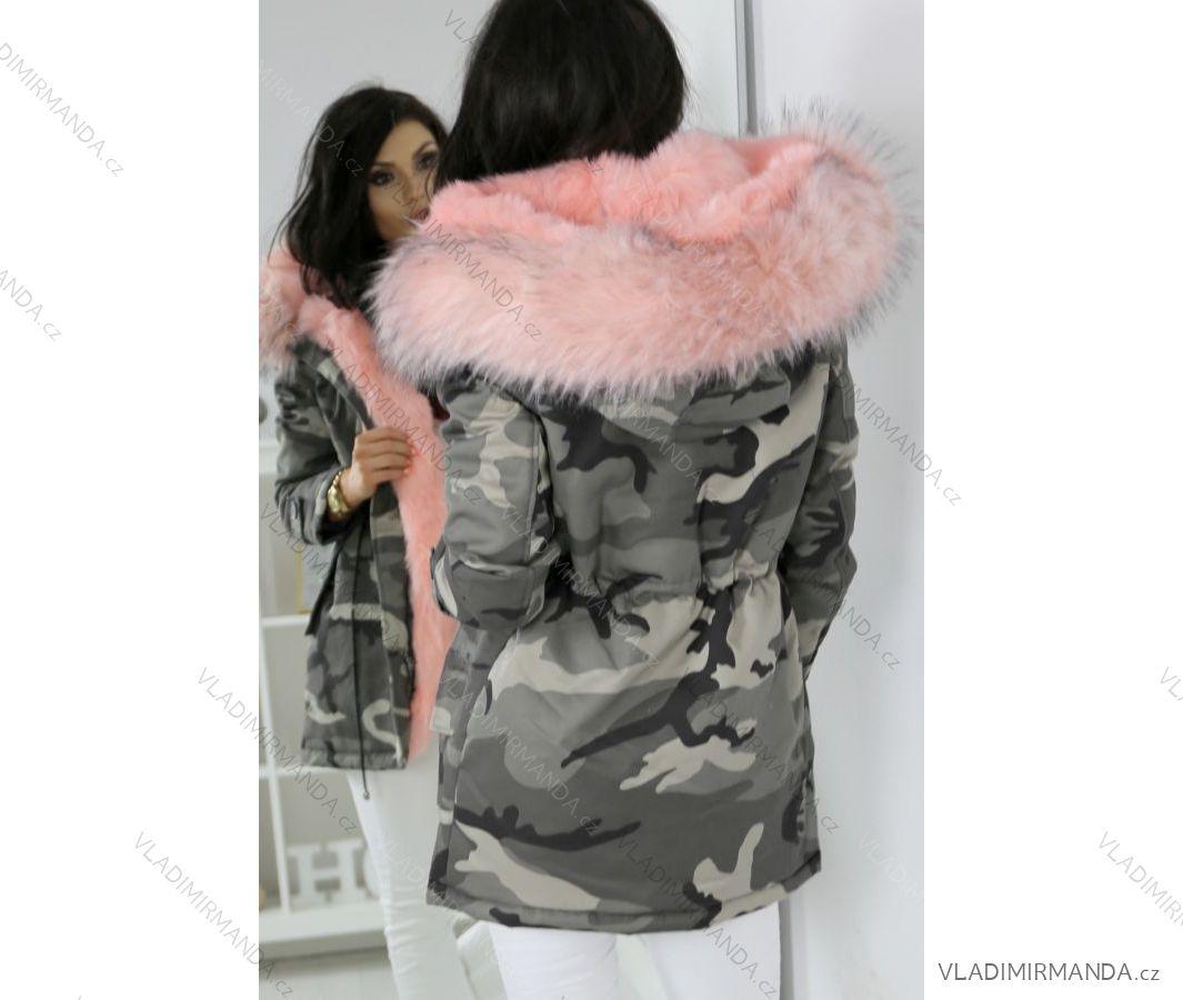 Kabát zimné parka s kožušinkou dámska maskáč army (sl) K-ZELL TALIANSKÁ  MÓDA IM917207 3bb6e720bb