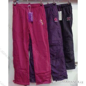 Nohavice šuštiakové zateplené flaušom dojčenské detské dievčenské (98-158) GRACE M-475