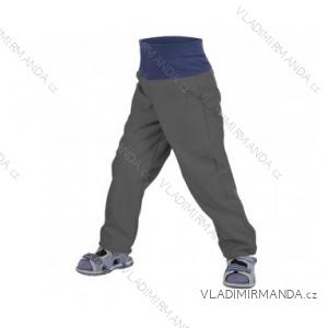 Nohavice softshellové bez zateplenia dojčenské detské dievčenské aj chlapčenské antracitovej (86-104) UN18040-SLIM