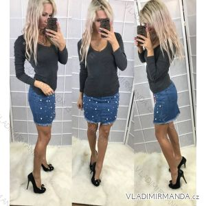 Sukňa riflová jeans s perličkami dámska (xs-2xl) SIMPLE AF18058