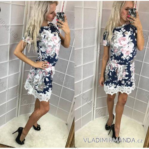 Šaty krátky rukáv kvetované s čipkou dámske (uni sl) Talianska MODA IMC18628 4e1a25c4958
