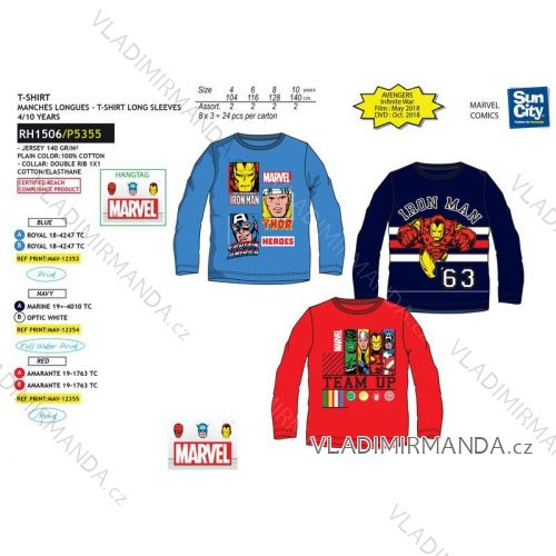 8b386d60c57d Tričko dlhý rukáv avengers detské a dorast chlapčenské bavlnené (4-10  rokov) SUN