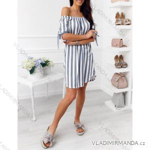 Šaty košeľové krátky rukáv prúžkované dámske (uni sl) TALIANSKÁ MÓDA IM418361