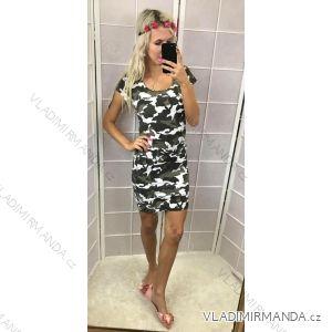 Šaty mini krátky rukáv push up dámska letné maskáčové (one size xs/s) TALIANSKÁ MÓDA IM21816040