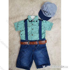 Súprava košeľa krátky rukáv + kraťasy riflové dojčenskej chlapčenské (1-3 roky) výroba v Turecku TUR418009