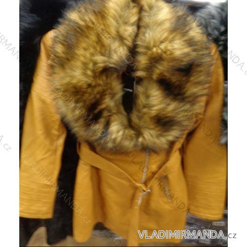 Bunda kabát dlhý koženkový s kožušinkou dámska (xs-xl) DD STYLE F670A 1066681c12