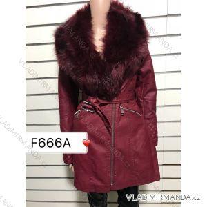 Bunda kabát koženkový s kožušinkou dámska (s-2-xl) DD STYLE F666A a323e24b8c