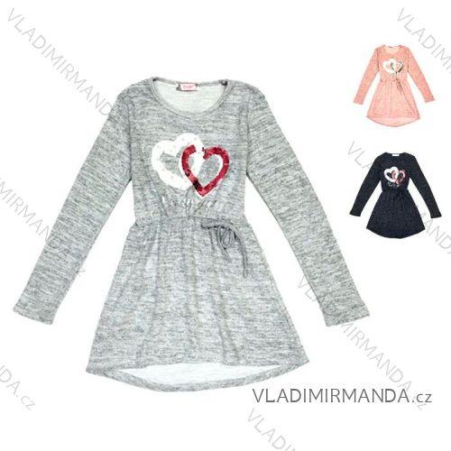 1672a3389f96 Šaty dlhý rukáv s flitrami a perličkami detské a dorast dievčenské (134-164)