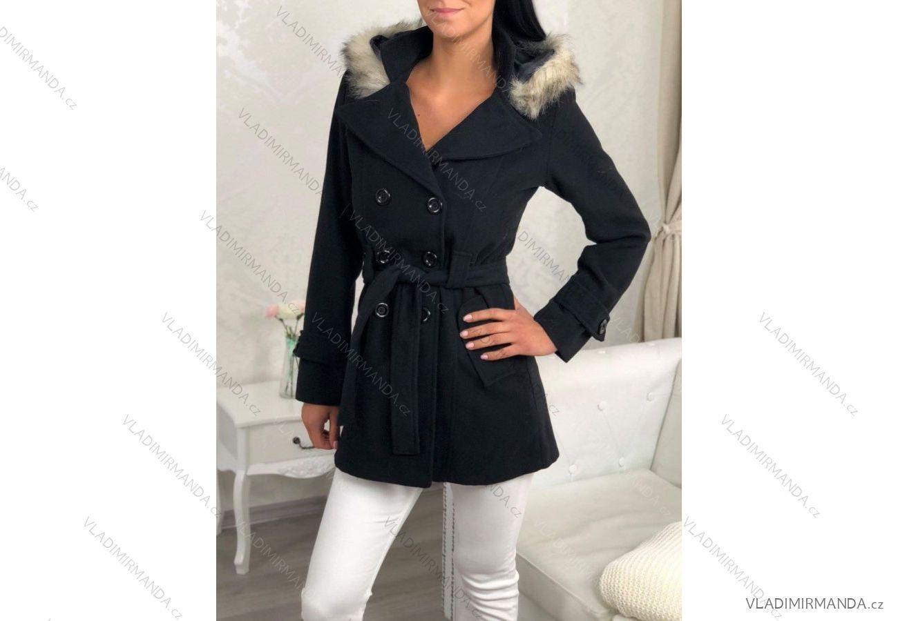 Kabát flaušový dlhý jesenné dámsky s kapucňou a kožušinkou (uni sl)  TALIANSKÁ MÓDA IM318512 d90a82a39ea