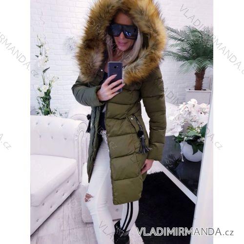 4fc72325e332 Kabát dlhý zimný dámsky prešívaný vypasovaný strih s kožušinkou (s-2xl)  Poľsko MODA