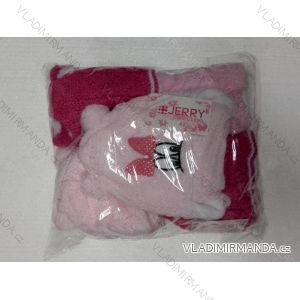 Čiapky zimné dve brmbolce zateplená flaušom dojčenská dievčenské (uni 44-46) POĽSKO PV717002