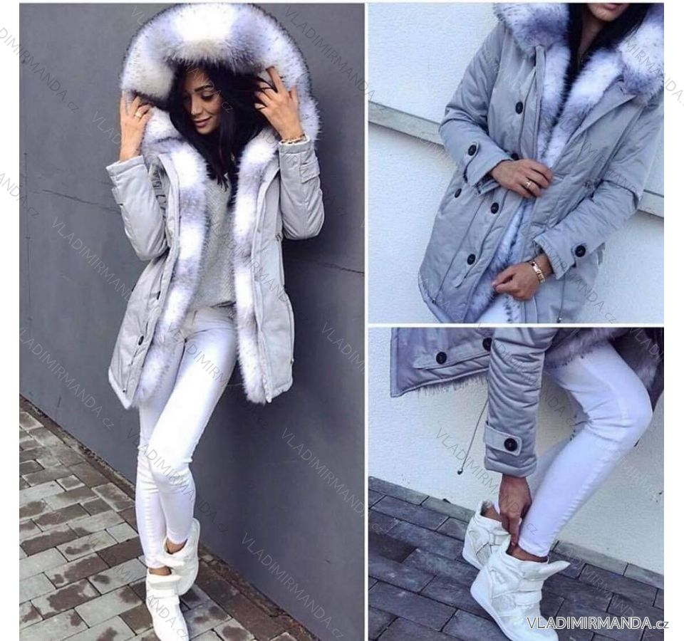 Kabát zimné parka s kožušinkou dámska lesklé (sl) K-ZELL TALIANSKÁ MÓDA  IM918464 084c4d00273