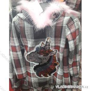 Mikina s kapucňou teplá detská dorast dievčenské (4-14let) TURECKO moda TM218202