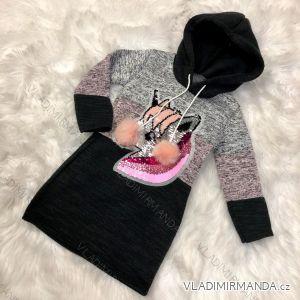 Mikina s kapucňou a flitrami detská dorast dievčenské možné nosiť ako šaty (4-12 rokov) Turecké Móda TM218212