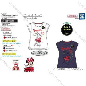 Tričko krátky rukáv minnie mouse svítí ve tmě fosfor detské dievčenské bavlnené (3-8 rokov) SUN CITY SE1233