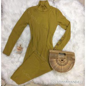 Šaty úpletové dlhý rukáv s gombíkmi na rukáve dámske (uni s / m) TALIANSKÁ MÓDA IM4186799