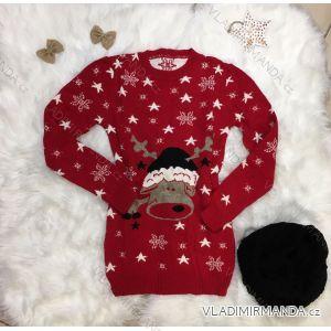 Sveter teplý pletený so sobom vianočné vzor dámsky dlhý (uni sl) Talianska MODA IMT18957