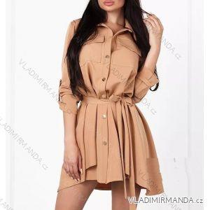 Šaty košeľové 3/4 dlhý rukáv dámske saténové (uni sl) TALIANSKÁ MÓDA IM21887285