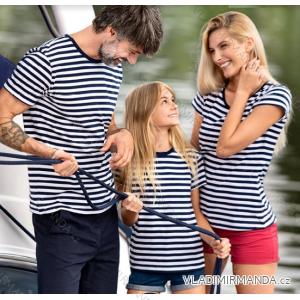 Tričko basic krátky rukáv detské dorast námořnický proužek (4-12) reklamný textil 805-sailor