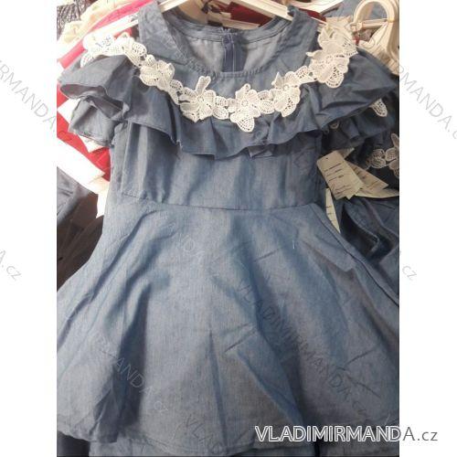 146ff38c898f Šaty letní krátký rukáv s odhalenými rameny dětské dorost riflové s krajkou  (4-14