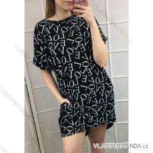 5d27e8945b62 Šaty krátký rukáv s kapsami dámské LOVE (uni s m) ITALSKá MóDA IMT198690