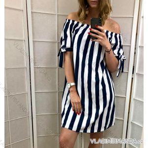 Šaty letní krátký rukáv dámské holá ramena proužek (uni s/m) ITALSKá MóDA IM119247