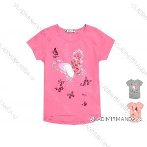 Tričko krátky rukáv s flitry detské dievčenské (98-128) KUGO K768K