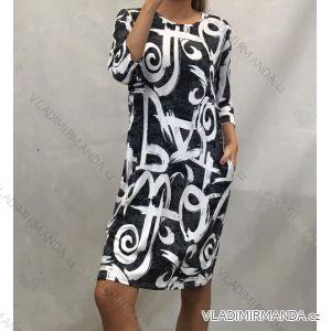Šaty klasik dámske nadrozmerné (L-3XL) POĽSKÁ MÓDA PM519056