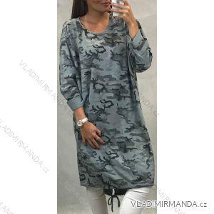 Šaty dlhé dlhý rukáv dámske nadrozměr maskáč (UNI XL-XXL) TALIANSKÁ MÓDA IM119650