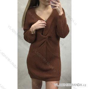 Šaty pletené svetr prodloužený dlouhý rukáv dámský (uni s-l) ITALSKá MODA IM9191042