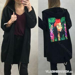 Mikina predĺžená s kapucňou dámska na zips (uni s / l) Talianska móda IM319725 černá